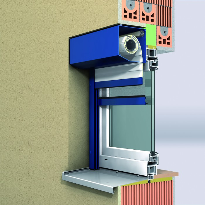 Einbausituation stranggepresster Rollladen mit 20 ° Abschrägung