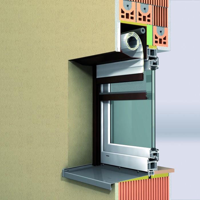 Einbausituation Unterputzrollladen mit 20 ° Abschrägung